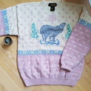 Vintage Eddie Bauer Wool knit polar bear sweater